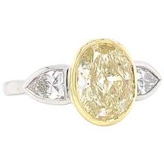 GIA 2.19 Carat Oval Cut Diamond Platinum Three Stone Engagement Ring