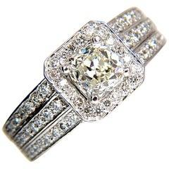 GIA 2.22ct Natural Cushion Cut Diamonds Ring 14KT K/Si Raised Square