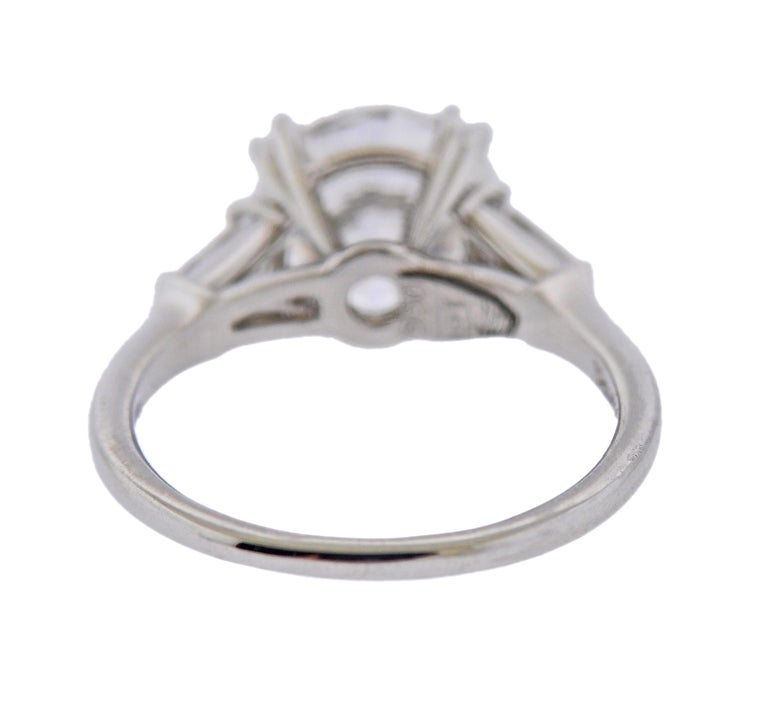 Round Cut GIA 2.23 Carat F VS1 Diamond Harry Winston Platinum Engagement Ring For Sale