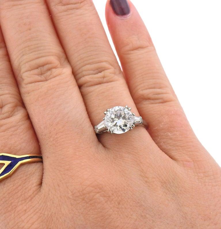 Women's GIA 2.23 Carat F VS1 Diamond Harry Winston Platinum Engagement Ring For Sale