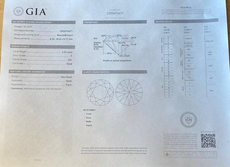 GIA 2.23 Carat F VS1 Diamond Harry Winston Platinum Engagement Ring For Sale 1