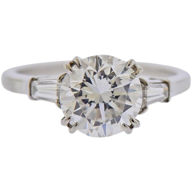 GIA 2.23 Carat F VS1 Diamond Harry Winston Platinum Engagement Ring For Sale