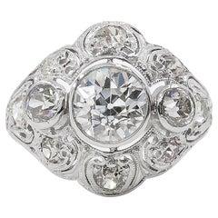 GIA 2.25 Carat Old European Diamond Engagement Wedding Platinum Ring