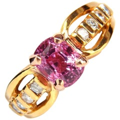 GIA 2.27 Carat Natural No Heat Pink Sapphire Diamond Ring Unheated Collections