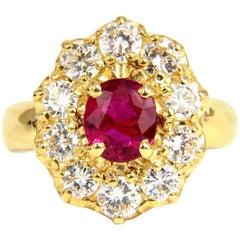 GIA 2.30 Carat Natural Red No Heat Ruby Diamonds Ring 18 Karat Unheated Cluster