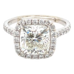 GIA 2.31 Carat Cushion Cut Diamond Engagement Ring
