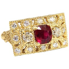 GIA 2.31 Carat Natural Cushion Vivid Red Ruby Diamonds Byzantine Ring 18 Karat