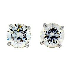 GIA 2.33 Carat Diamond Stud Earrings, 1.17 Carat, 1.16 Carat, G, VS2