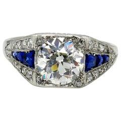 Art Deco GIA 2.37ct Old Euro Diamond & French Sapphire Platinum Engagement Ring