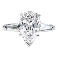 GIA 2.38 Carat Pear Shaped and Baguettes 3-Stone Diamond Platinum Ring