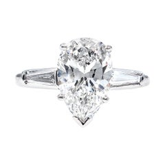 GIA 2.38 Carat Pear Shaped and Baguettes Diamond Solitaire Platinum Ring