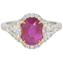 GIA 2.39 Carat Burma No Heat Red Ruby with Diamonds 18 Karat Gold Halo Ring
