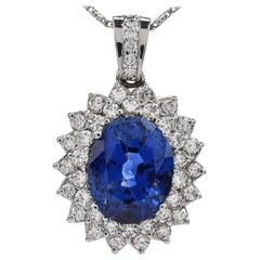 GIA 24.09 Ceylon Sapphire Diamond Halo Platinum Pendant Enhancer