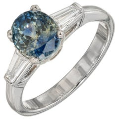 GIA 2.41 Carat Green Blue Oval Blue Sapphire Diamond Engagement Platinum