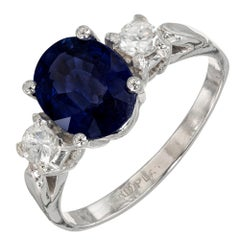 GIA 2.46 Carat Oval Sapphire Diamond Platinum Three-Stone Engagement Ring