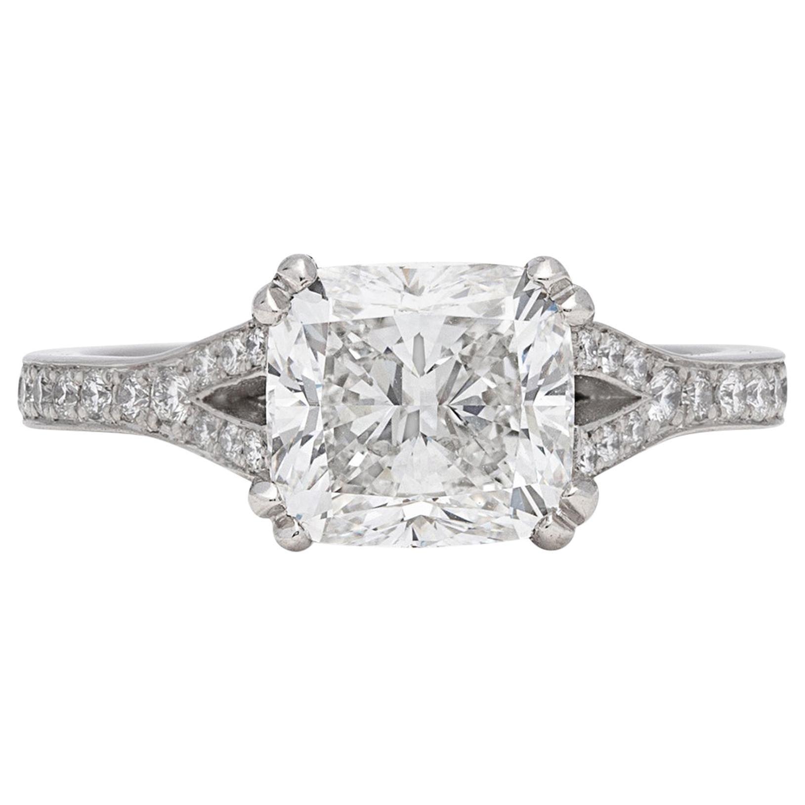 GIA 2.50 Carat F/VS1 Cushion Diamond Engagement Ring
