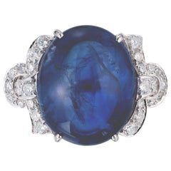 GIA 25.00 Carat Sri Lanka Cabochon Sapphire Diamond Platinum Cocktail Ring