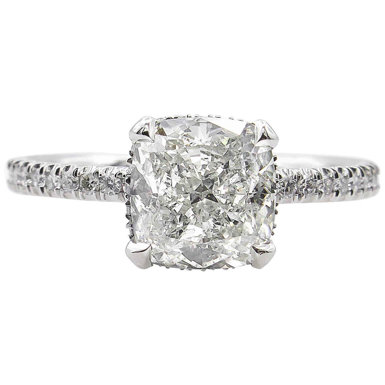 GIA 2.51 Carat Cushion Diamond Engagement Wedding Platinum Ring