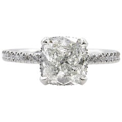 GIA 2.51 Carat Cushion Diamond Engagement Wedding Platinum Ring
