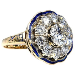 GIA 2.52 Carat Diamond Engagement Enamel Flower Cluster Cocktail Vintage Ring