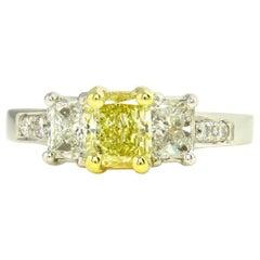 GIA 2.52ct Natural Fancy Yellow Radiant 3-Stone Diamond Engagement Wedding Ring