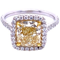 GIA 2.53 Carat Fancy Light Yellow French Pave Set 18 Karat Ring with Halo