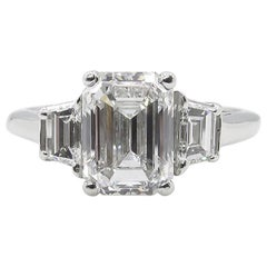 GIA 2.54 Carat Vintage Emerald cut Diamond Engagement Wedding Platinum Ring