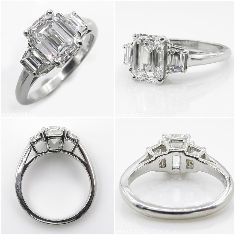 GIA 2.54 Carat Vintage Emerald cut Diamond Engagement Wedding Platinum Ring For Sale 1