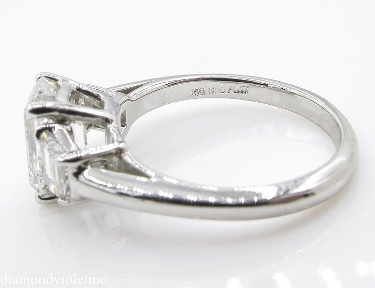 GIA 2.54 Carat Vintage Emerald cut Diamond Engagement Wedding Platinum Ring For Sale 11