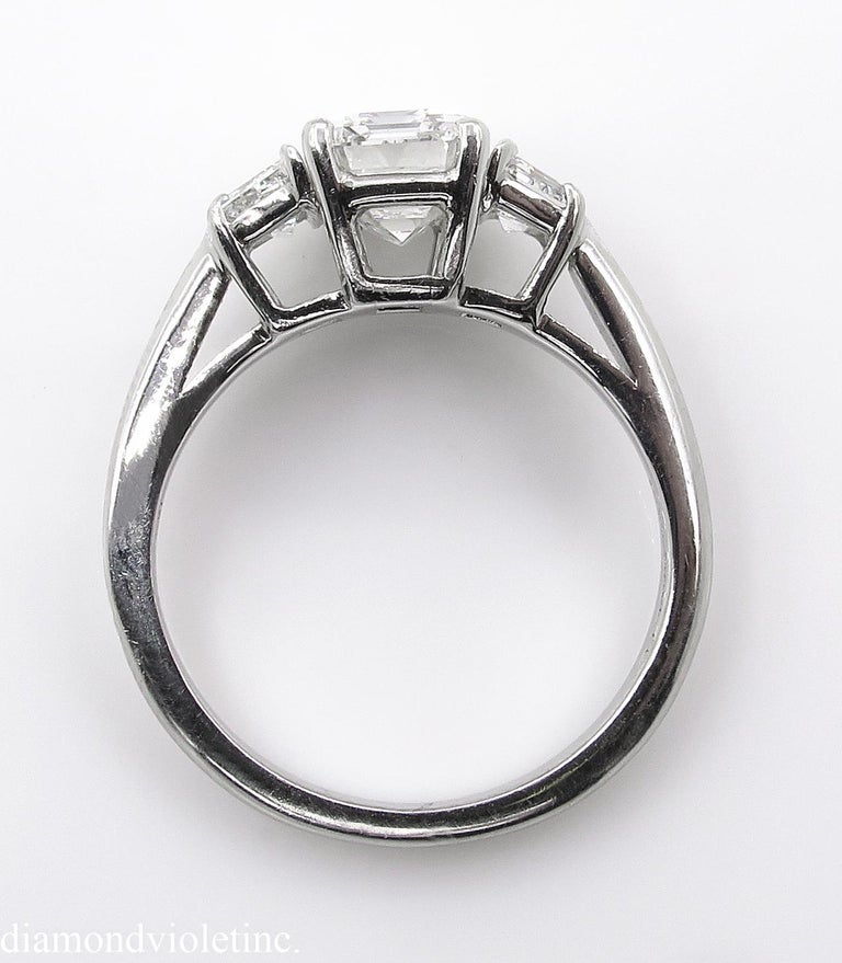 GIA 2.54 Carat Vintage Emerald cut Diamond Engagement Wedding Platinum Ring For Sale 13
