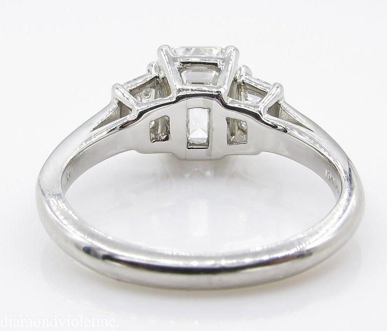 GIA 2.54 Carat Vintage Emerald cut Diamond Engagement Wedding Platinum Ring For Sale 14