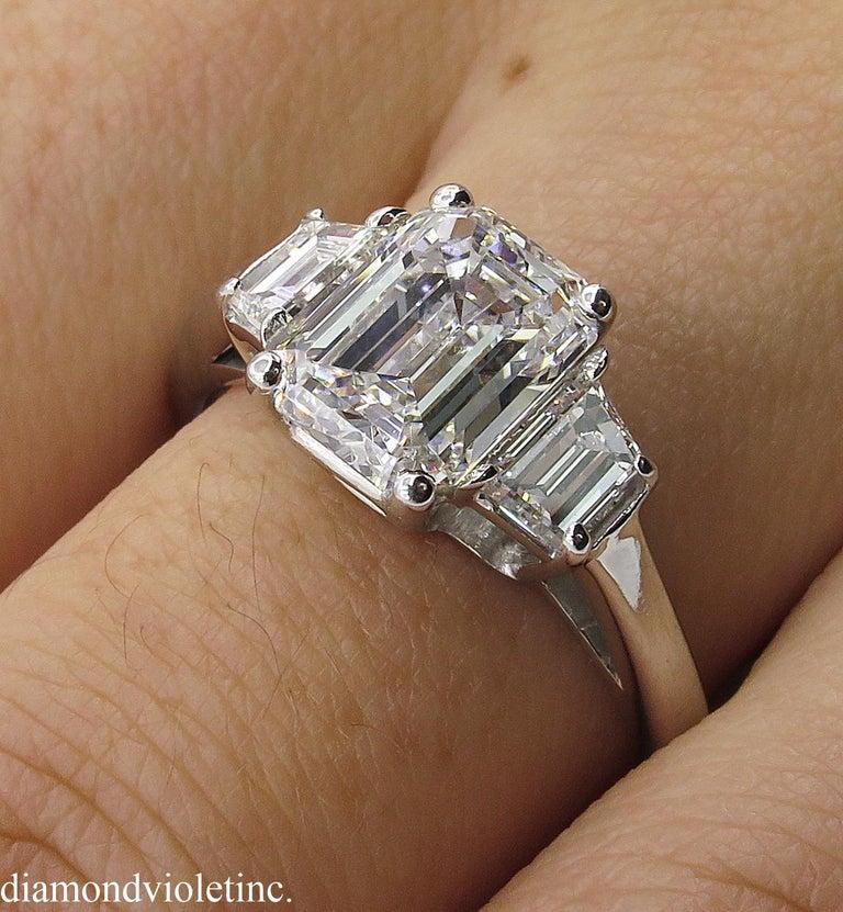 GIA 2.54 Carat Vintage Emerald cut Diamond Engagement Wedding Platinum Ring For Sale 6