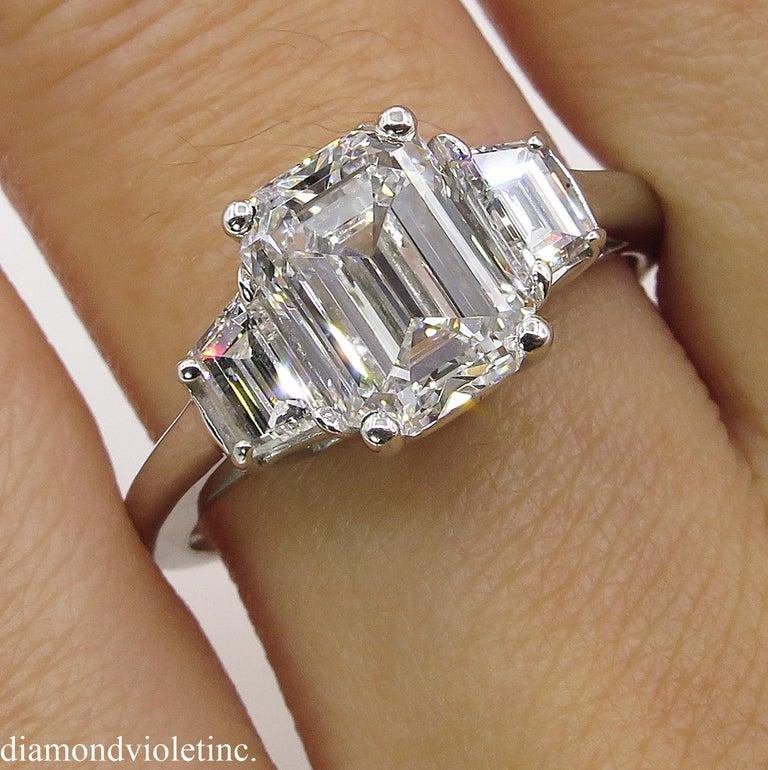 GIA 2.54 Carat Vintage Emerald cut Diamond Engagement Wedding Platinum Ring For Sale 7