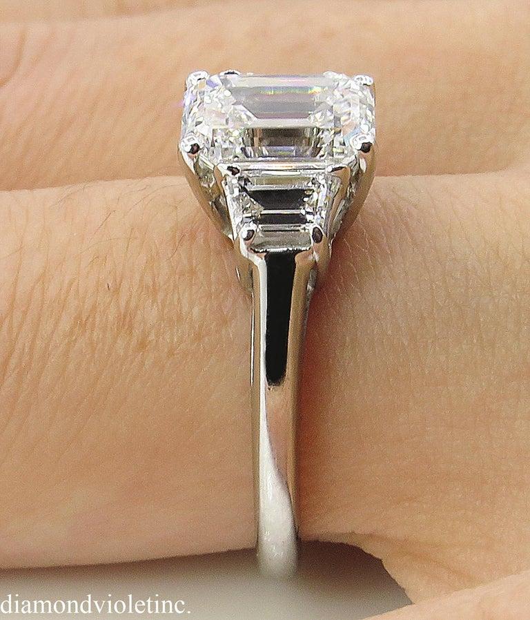 GIA 2.54 Carat Vintage Emerald cut Diamond Engagement Wedding Platinum Ring For Sale 8