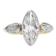 GIA 2.55 Carat Antique Old Marquise Diamond 3-Stone Wedding Yellow Gold