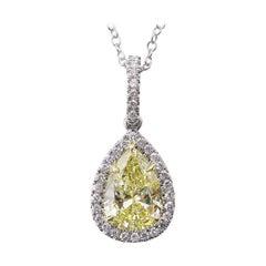 GIA 2.55 Carat Fancy Yellow Pear Diamond Platinum Yellow Gold Pendant Necklace