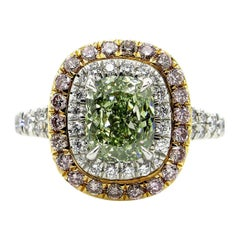GIA 2.55 Carat Fancy Intense Green Cushion Cut Diamond Engagement Wedding Ring