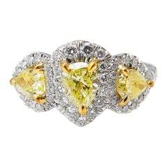 GIA 2.58 Carat Yellow Pear Diamond Three-Stone Engagement Wedding Platinum Ring