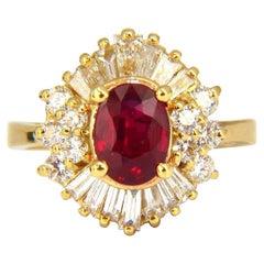 GIA 2.60 Carat Natural Oval Vivid Red Ruby Diamonds Cocktail Ring 18 Karat