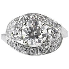 GIA 2.60ct Vintage Old European Diamond Cluster Engagement Wedding Platinum Ring