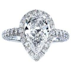 GIA 2.61 Carat Estate Vintage Pear Shaped Diamond Wedding Platinum