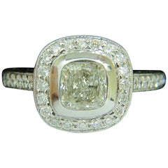 GIA 2.63 Carat Halo Cushion Cut Diamond Ring Platinum I/VS1