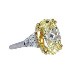 GIA 2.65 Carat Fancy Yellow Oval Diamond Ring