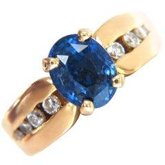 GIA 2.66 Carat Natural No Heat Sapphire Diamond Ring 14 Karat Unheated Blue