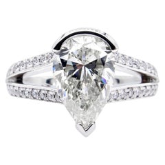 GIA 2.68 Carat Vintage Pear Shaped Diamond Engagement Wedding Pave Platinum Ring