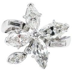 GIA 2.69 Carat Diamond Engagement Cluster Right Hand Fashion Ring Platinum