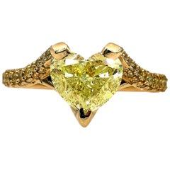 GIA 2.71 Carat Natural Fancy Yellow Heart Shape Diamond Ring Yellow Gold