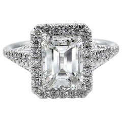 GIA 2.71 Carat Estate Emerald Cut Diamond Solitaire Engagement Pave Gold Ring