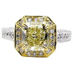 GIA 2.74 Carat Natural Fancy Yellow Radiant Diamond Engagement Wedding Ring