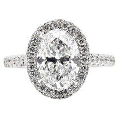 GIA 2.74 Carat Oval Cut Diamond Engagement Halo White Gold Estate Vintage Ring